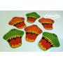 Props Cartelitos Bocas Dinosaurios Cumpleaños X10 Unidades