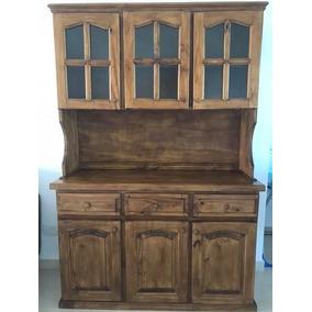 Mueble De Cocina Alacena Y Bajomesada De Pino Pintado Y Vidr