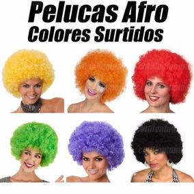 10 Pelucas Afro Colores Varios Cotillon Luminoso Carioca