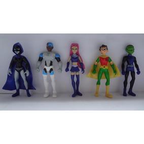 Kit Com 5 Bonecos Jovens Titans Robin Cyborg Mutano Ravena