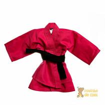 Kimono Rosa Com Faixa Preta Recém Nascido E Bebê