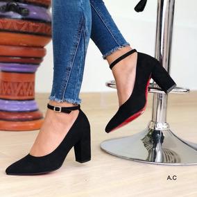 Zapatos Con Tacon Ancho Semi Cerrado - Tacones Negro en Mercado ... b019d7dd0bd2