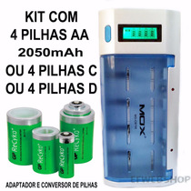 Kit Carregador + 4 Pilha Aa 2050mah Adaptavel C E D Cb795 Gp