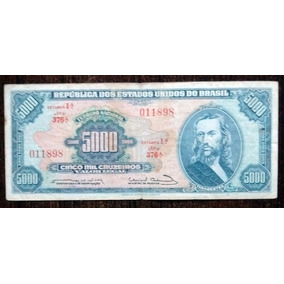 Billete 5.000 Cruzeiros Brasil 1963 Pick 174a Bueno G+