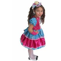 Vestido Festa Junina Caipira Infantil Xadrez Rosa Pink+ Luva
