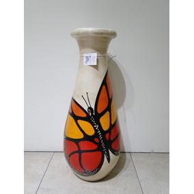 Jarron Beige Mariposa Naranja Deco Ceramica Bombe Hogar
