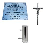 Placa + 1 Florero + Cruz. Para Cementerio, Lapidas, Nicho.