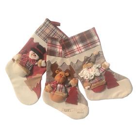 Juego De 3 Botas Navideñas Santa, Reno Y Muñeco De Nieve