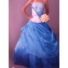Vestidos Para Xv Años, Color Azul Celeste-blanco
