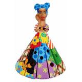 Boneca Namoradeira Abajur Madeira Entalhada E Pintada 30cm D