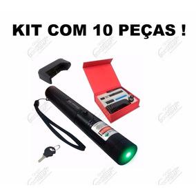 Kit 10 Caneta Laser Pointer Verde Longo Alcance + Estojo