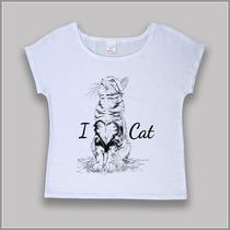 T-shirt / Camiseta Feminina Estampa De Gato - I Love Cat