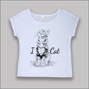 T-shirt / Camiseta Feminina Estampa De Gato - I Love Cat