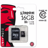 Tarjeta Micro Sd 16gb 2 En 1 Adaptador Sd Clase 10 Kingston