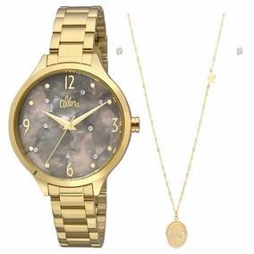 Relógio Allora Feminino Dourado Al2036fii/k4c Colar + Brinco