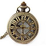Reloj De Bolsillo En Forma De Cráneo De Bronce Antiguo Re...