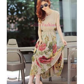 Sakura Moda Asiatica: Vestido Flor Maxi Largo Envio Xpress