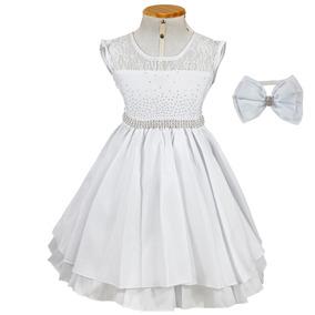 Vestido De Luxo Branco +tiara Daminha Aniversário Casamento