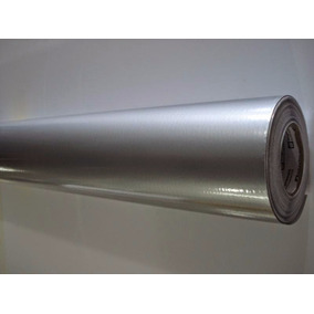 Adesivo Envelopamento Geladeira Prata Tipo Inox - 10m X 1m