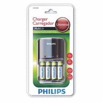 Carregador De Pilhas Philips C/ 4 Pil. Aa 2450mah + 8 Pilhas