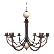 Lámpara Colgante Araña 6 Luces Bocha Cerámica - Hierro Óxido