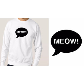 Blusa Branca Moletom Casaco De Frio Cat Felino Meow Tumblr