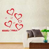 Adesivo De Parede Cartelas Corações Com Nome - P 22x50