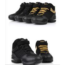 Zapatillas Tipo Botita De Danza Y Baile Color Negro Y Dorado