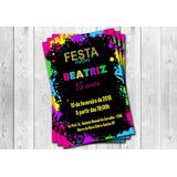 50 Convites Festa Neon Personalizados
