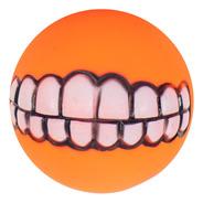 Brinquedo Pet - Bola Com Sorriso De Borracha Cor:laranja