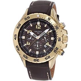 N G Nst Dorado Del Hombre Nautica Reloj De Acero Inoxi...