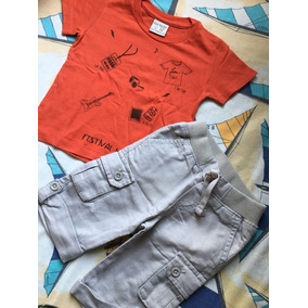 Camiseta Zara E Calça Cargo Gap Serve 9m A 1a