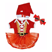 Fantasia Body Mamãe Noel Natal Baby Saia Tutu  Laço E Gorro
