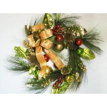 Corona Navideña Con Esferas Moño Y Pino Navidad Decoración
