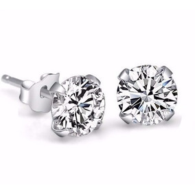 Brinco Masculino Prata Pura 925 Pedra Diamante Sintético 8mm
