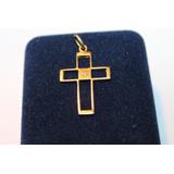 Cruz Oro 18 Klts. Muy Antigua Con Calada Engarzado Diamante
