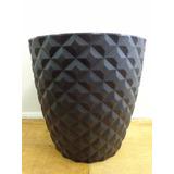 Vaso Polietileno Chão Com Textura Para Plantas 58 Cm Preto