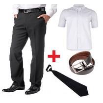 Calça Social Masculina + Cinto + Gravata + Camisa Mga Curta
