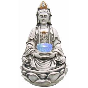 Fonte Kuan Yin Cascata De Agua Decorativa C/ Luz Em Resina