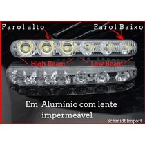Em Alumínio Farol Milha Neblina Day Light 6 Led Duplo Feixe