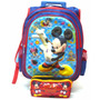 Kit Mochila Mickey Mouse 3d Rodinhas + Estojo