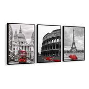Quadro Londres Coliseu Paris Torre Eiffel Vermelho Cidades