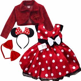 Vestido Infantil Minnie Vermelha E Bolero E 2 Tiara Promoção