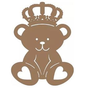 Aplique De Parede Urso Principe-rei Mdf Cru 60 Cm Festas