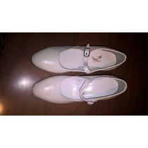 Zapato De Danza Española-folclore Nuevo Blanco Cuero