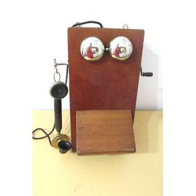 Telefono De Pared Antiguo Ericsson Sweden De Cedro A Magneto
