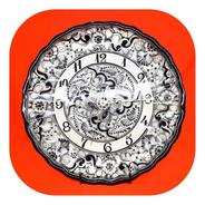 Reloj Negro 35 Cm De Talavera Poblana Rj Ng