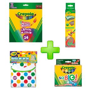 Kit 8 Lápices Grafito +18 So Big +24 Colores +bata Crayola