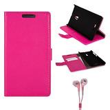 Cartera De Cuero Rosa Portafolio Funda Para El Nokia Lumia