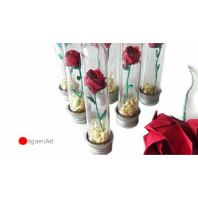 Mini Rosa Em Tubete - Origami - 10 Unidades